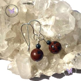 Mahogany Obsidian Hematite Earrings